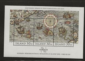 ICELAND Sc 681 NH issue of 1989 - SOUVENIR SHEET - STAMP DAY