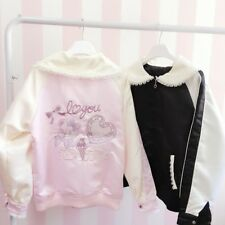 Japanese Harajuku Lolita Cute Embroidery Baseball Short Jacket Woman's Coat Girl