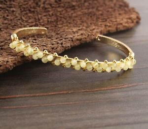 Yellow Chalcedony Charm Beads Yellow Gold Plated Wire Wrapped Adjustable Bangle
