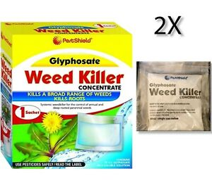2x PestShield Lawn Weed Killer Glyphosate Concentrate 1x Sachet 32 SQM Coverage