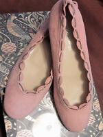 FILIPPO RAPHAEL Blush Suede Ballet Flats, Scalloped, Chain, Wedding 39.5, NWOB