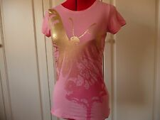 Ladies Guess Pink tshirt with gold butterfly print - size S
