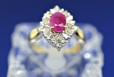 14k Two Tone Diamond, And Ruby Ring. Size 5.5