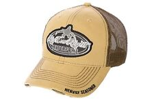 RIG' EM RIGHT WATERFOWL DRAB GREEN AND KHAKI DISTRESSED TRUCKERS MESH HAT CAP