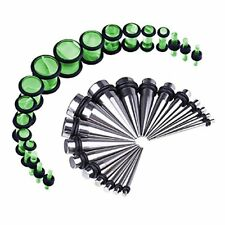 36PCS Gauges Kit Stainless Steel Tapers Green Plugs 14G-00G Ear Stretching Set