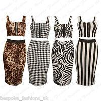 Ladies Women's Stripe,Dogtooth,Animal Bralet Crop Top + Skirt 2 Piece Set 8-14