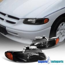 96-00 Dodge Caravan Chrysler Town & Country Black Euro Headlight+Amber Reflector