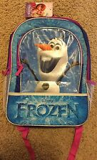 """Disney Frozen Olaf 16"""" Backpack With Front Pocket And Drink Bottle Holder"""