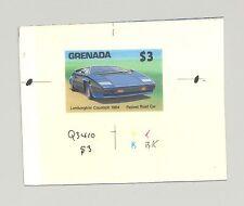 Grenada #1525 Lamborghini, Automobiles, 1v. imperf chromalin proof