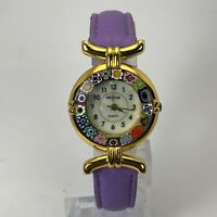 Venetiae Womens Purple Band Flower Of Murano Glass Quartz Analog Wristwatch