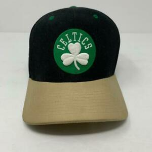 Boston Celtics Mitchell & Ness Hat Cap Black/Tan/Green Adjustable Strap NBA EUC
