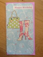 Birthday Boots Bag Flower Greeting Note Card *NEW* Female (721)