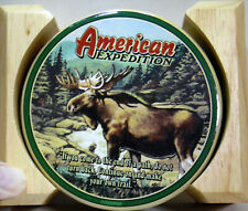 AMERICAN EXPEDITION SET OF 4 STONE MOOSE COASTERS  WITH WOODEN HOLDER