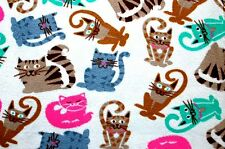 """SIX LARGE FAMOUS CAT BREEDS ON BEIGE BACKGROUND FLEECE MATERIAL 2 YDS 60X72"""""""