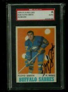 Floyd Smith 1970-71 O-PEE-CHEE Auto SGC Authentic Toronto Maple Leafs LEGEND HOF