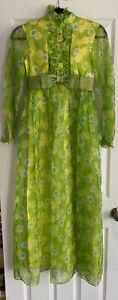 Vintage 60's Flower Power Long Dress Handmade Size Small
