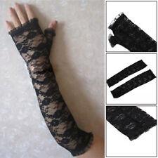 Perfect Black Long Lace Fingerless Gloves Burlesque Goth Fancy Dress Arm