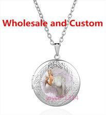 Marilyn Monroe Cabochon Tibetan silver Glass Locket Pendant Necklace HZ-4591