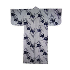 """Japanese Robe Yukata Kimono Women's Indigo Blue Iris Design 58"""""""