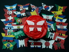 32 PRE-CUT WORLD CUP 2018 FLAG BUTTERFLY EDIBLE CUPCAKE RICE WAFER PAPER TOPPERS