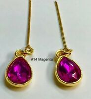 Magenta Glass Rhinestone Repro Earrings Fits All Madame Alexander Dolls #14
