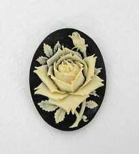 Vintage Flower Cabochon Cameo Ivory Rose Black Resin 40x30mm