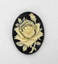 Vintage Flower Cabochon Cameo Ivory Rose Black Resin 40x30mm
