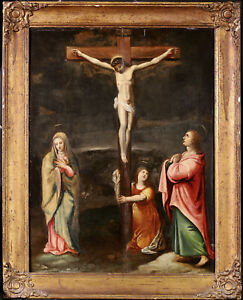 17th CENTURY FLEMISH OLD MASTER OIL ON PANEL - CHRIST & THE CRUCIFIXION