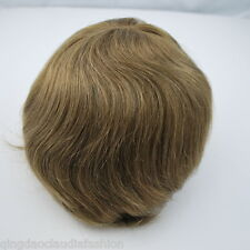 light brown hair piece for men Swiss lace bleached front mens human hair toupee