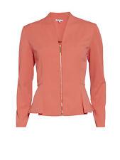 Gina Bacconi Moss Crepe Zip Up Jacket, Tangerine Crush