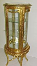 GLASS CASE BAROQUE STYLE GOLD GLASS CASE WITH MARBLE TOP # MB16.60