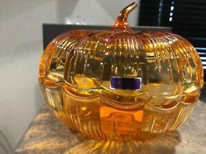 "Waterford Marquis Crystal Large 8""ORANGE~PUMPKIN~HALLOWEEN~Candy Dish Bowl RARE!"