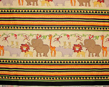 Timeless Treasures Jungle Animal Stripe C7993 Giraffe Monkey Cotton Fabric YARD