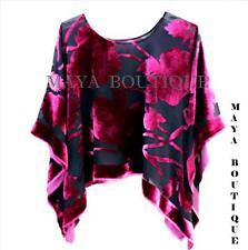 Silk Burnout Velvet Poncho Kimono Top Raspberry & Black No Fringe Maya Matazaro