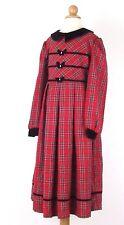 Bonnie Jean Long Sleeve Dress Size 7 Girls Red Black Plaid Christmas Holiday