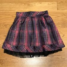 Cherokee Purple Black Plaid Holiday Christmas Elastic Skirt Girls Size Xl 14/16