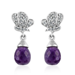 Amethyst, Cambodian Zircon Platinum Over Sterling Silver Earrings TGW 4.55 cts.