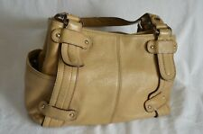TIGNANELLO ~ITALY SMART CLASSIC CREAM GRAINY GENUINE LEATHER SHOULDER/HAND BAG