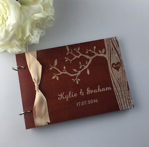 Personalized Engraved Tree birds Wooden Wedding guest book album,Valentine gifts