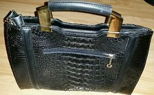 Tom & Eva Croc Ladies Handbag Bag Black RRP 40 GBP