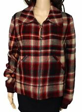 Polo Ralph Lauren Womens Red Tan Plaid Wool Flight Bomber  Jacket Coat 10