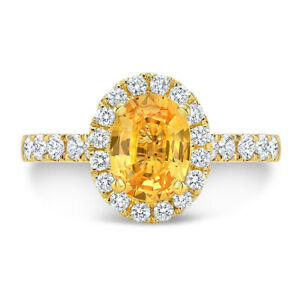 14k Yellow Gold Oval Citrine Diamond Halo Engagement Ring Solitaire Natural