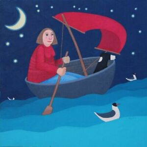 Moonlit Escapade Collie In A Coracle With Lady Greetings Card - Ailsa Black