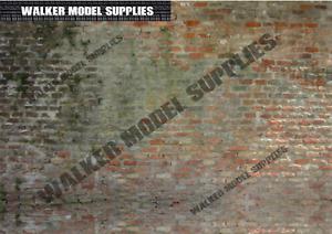 1:16 scale (3xA4) Brick wall - Peel and Apply sticker. Set 2
