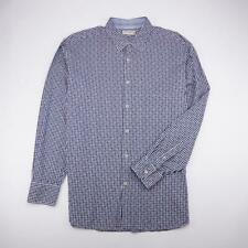 EQUILIBRIO Milano Fitted Button Front Casual Shirt Lng Slv Navy Plaid Mens 2XL