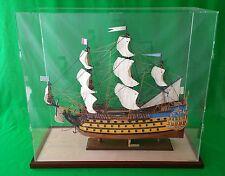 34x14x30 Acrylic Plexiglas Display Case Box Tall Model Ships Walnut Wooden Base