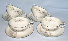Hira Fontaine 4 Cup Saucer Sets Fine China Japan 4203 White Blue Purple Pink