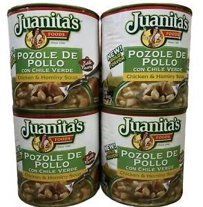 4 LATAS Juanita's Pozole De Pollo Chicken & Hominy Soup 25 oz Stew ENVÍO GRATIS