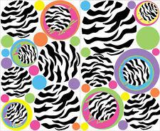 POLKA DOTS CIRCLES Zebra animal print wall stickers 37 colorful decals teen dorm