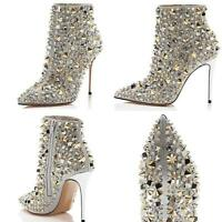 Womens Pointy Toe Rivets High Stiletto Heel Ankle Boots Side Zip Shoes Nightclub
